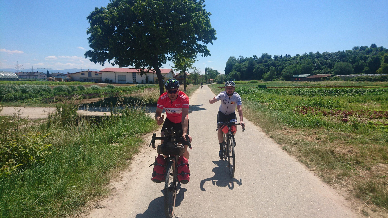 Thomas and Oli riding behind me