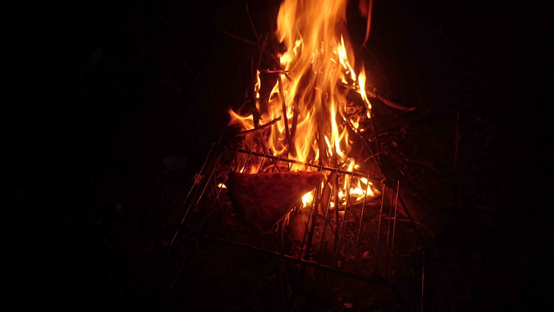 Artisanal campfire pizza.