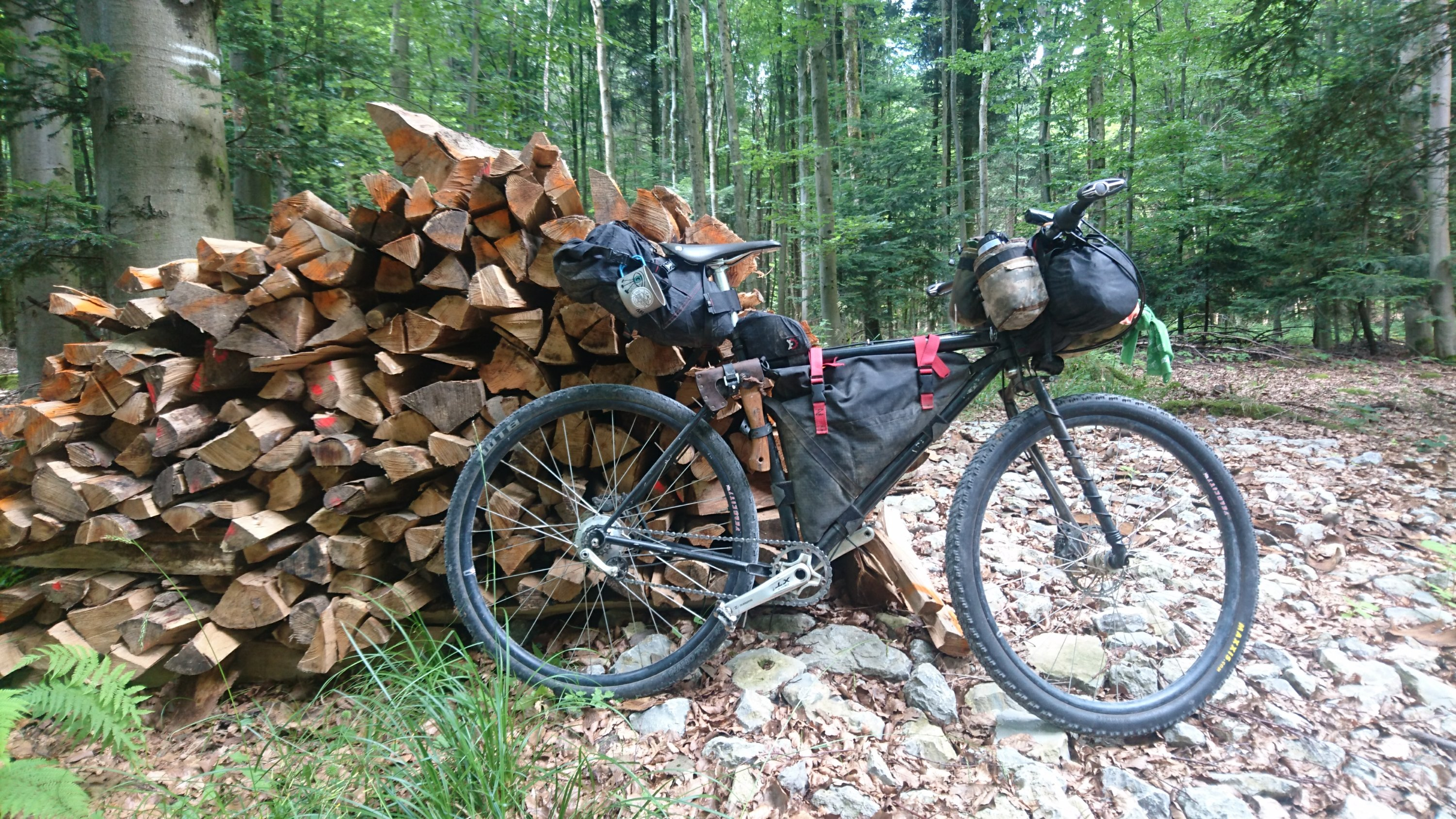 bike at woodpile