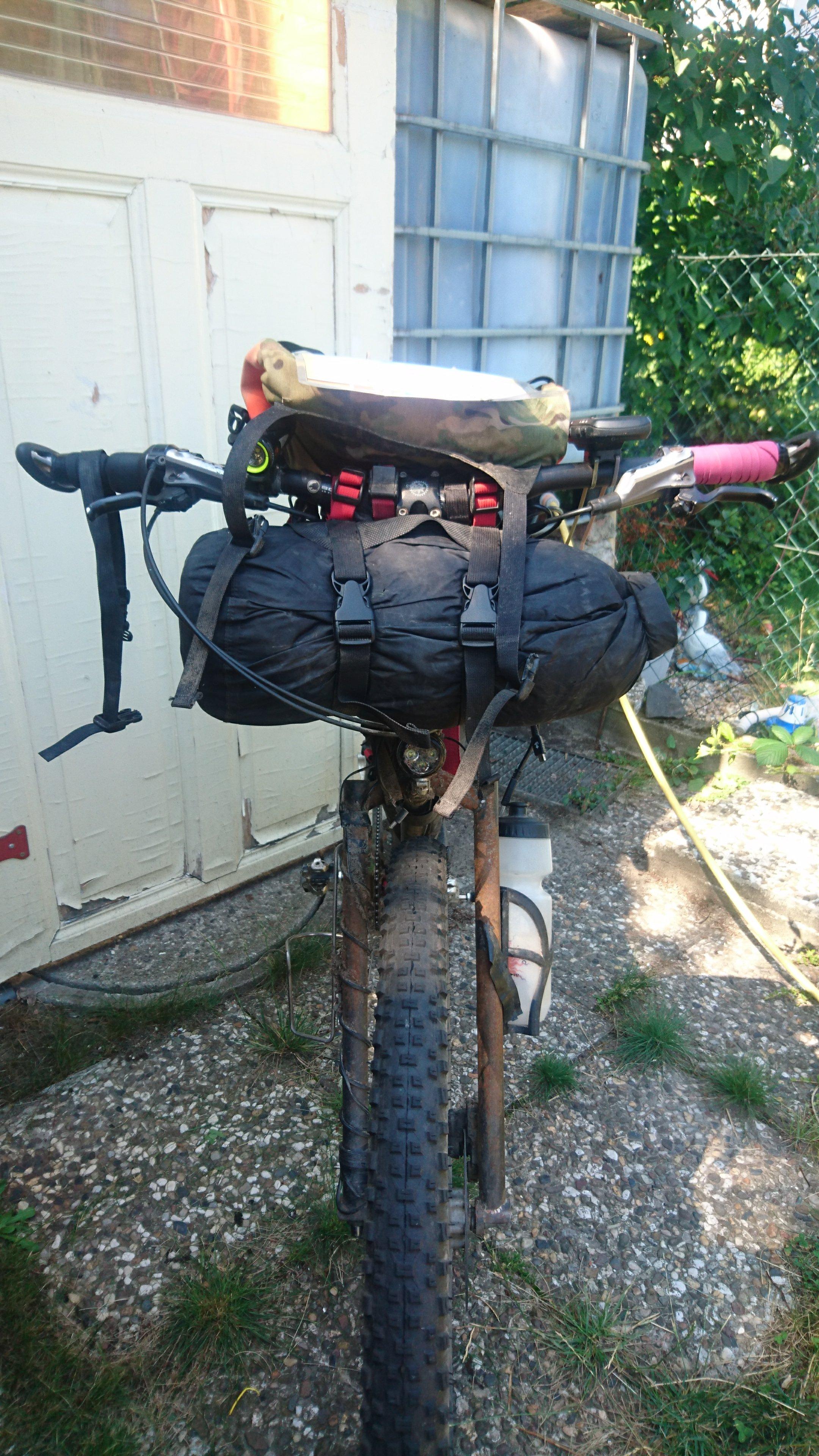 Sleeping setup on handlebar harness