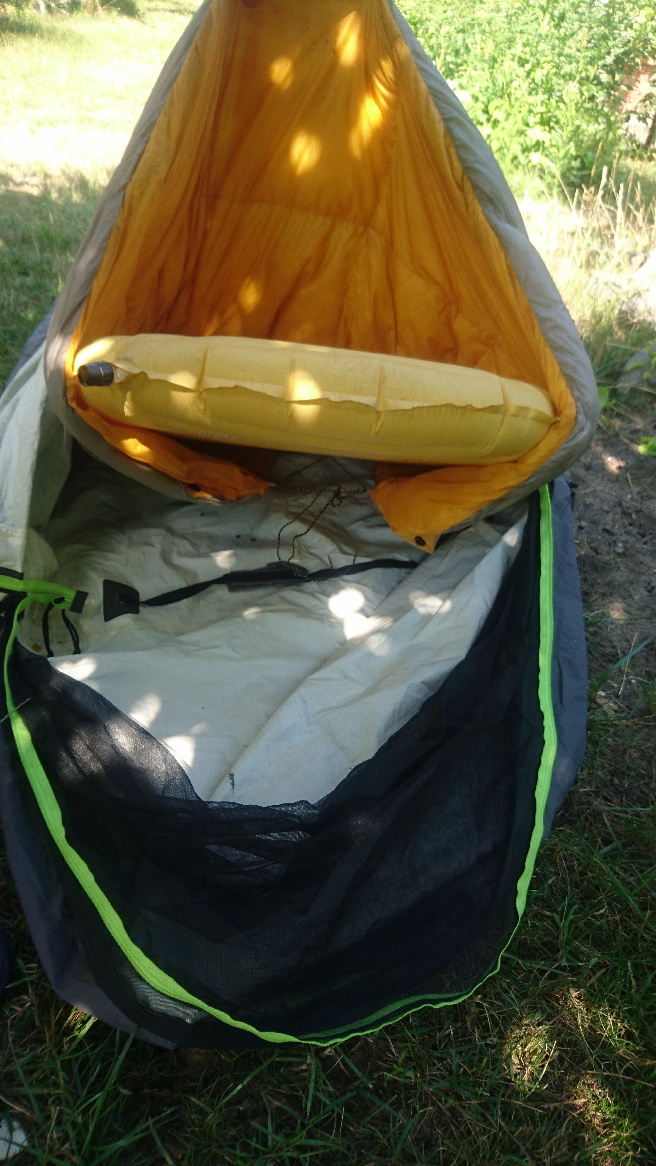 Pad inside bag inside bivy